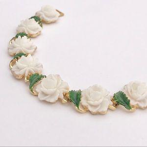 Mid Century Rose Painted Green Leaf Link Bracelet